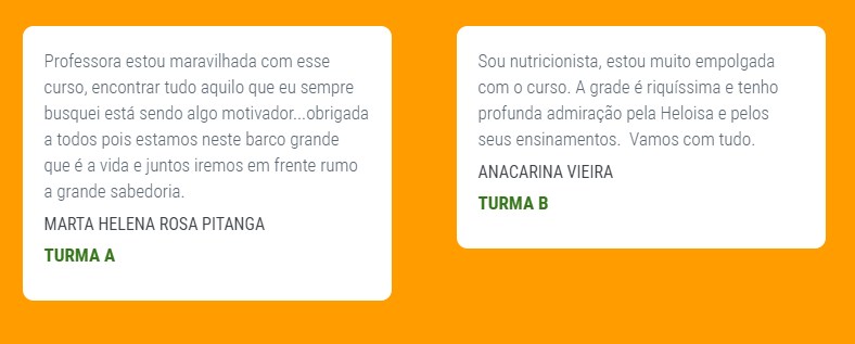 Depoimentos do Curso de Terapia Ortomolecular com Heloísa Bernardes