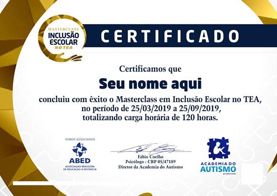 Certificado Masterclass Inclusão Escolar no TEA