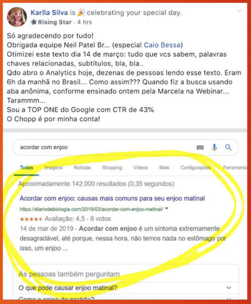 Comunidade Neil Patel de SEO e Marketing Digital - Depoimentos 02